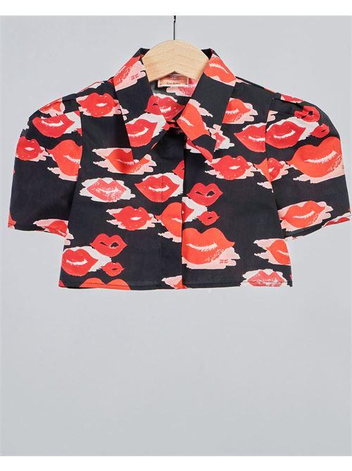 Camicia con stampa bocche all over Elisabetta Franchi La Mia Bambina ELISABETTA FRANCHI LA MIA BAMBINA | Camicia | EFCA131CA253WE024D013