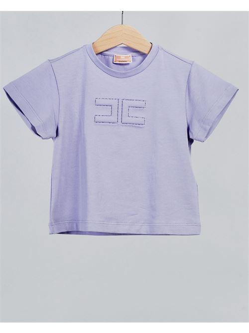 T-shirt basic con logo Elisabetta Franchi La Mia Bambina ELISABETTA FRANCHI LA MIA BAMBINA | T-shirt | EFTS130JE95WE0258018