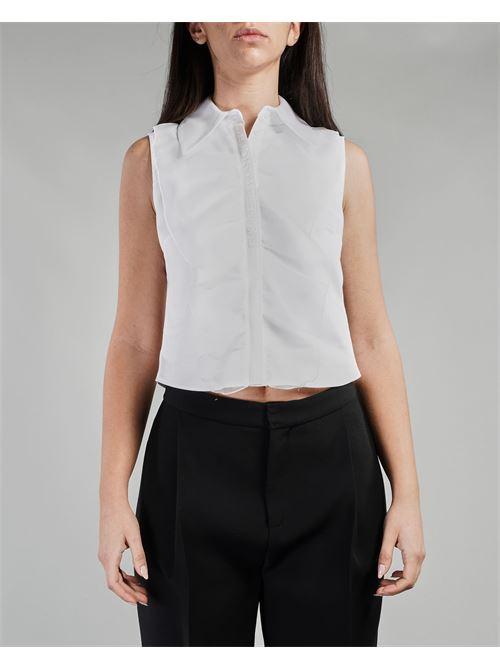 Camicia smanicata con rouches e ricamo Elisabetta Franchi ELISABETTA FRANCHI | Camicia | CA30011E2100