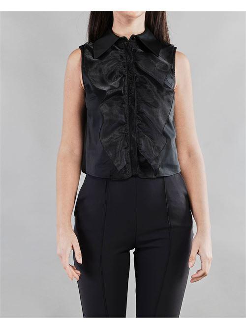 Camicia smanicata con rouches e ricamo Elisabetta Franchi ELISABETTA FRANCHI | Camicia | CA30011E2110