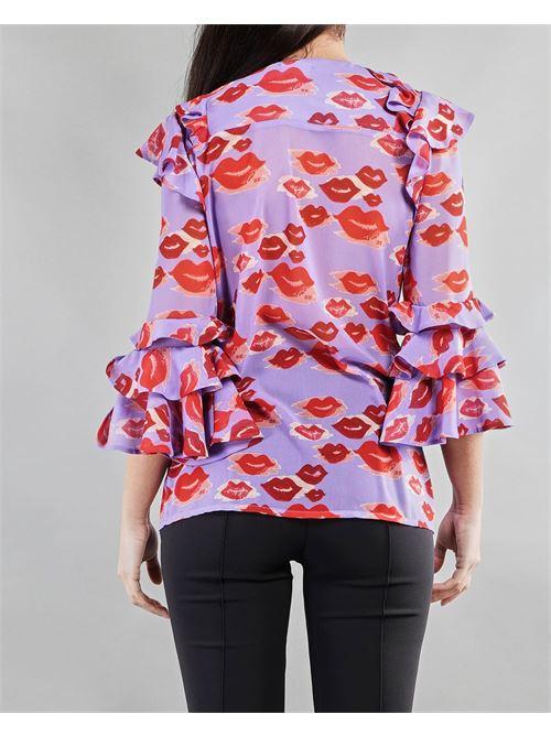 Camicia con stampa labbra e rouches Elisabetta Franchi ELISABETTA FRANCHI   Camicia   CA31013E2Q38