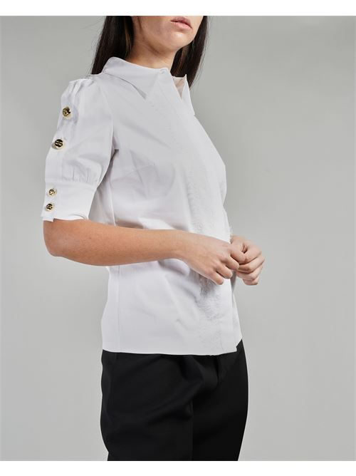 Camicia in cotone con bottoni oro light sulle maniche Elisabetta Franchi ELISABETTA FRANCHI | Camicia | CA32011E2100