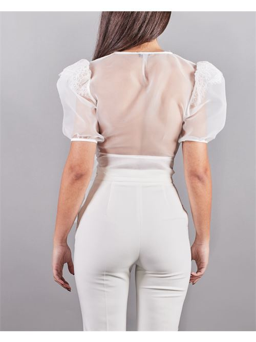 Camicia corta in organza e pizzo Elisabetta Franchi ELISABETTA FRANCHI | Camicia | CA32111E2360