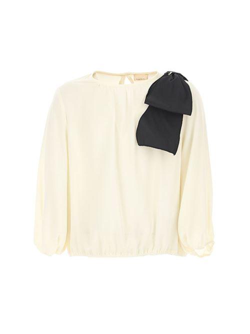 Camicia con fiocco applicato Elisabetta Franchi La Mia Bambina ELISABETTA FRANCHI | Camicia | EFCA107GA3545