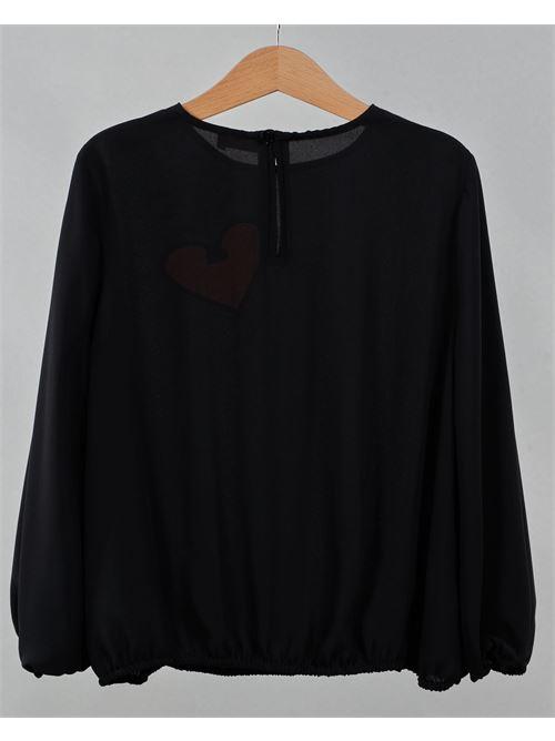 Camicia con stampa cuore a contrasto Elisabetta Franchi La Mia Bambina ELISABETTA FRANCHI LA MIA BAMBINA | Camicia | EFCA110GA3558