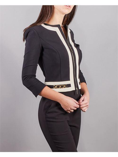 Giacca corta bicolor con morsetti light gold Elisabetta Franchi ELISABETTA FRANCHI | Giacca | GI96511E2685