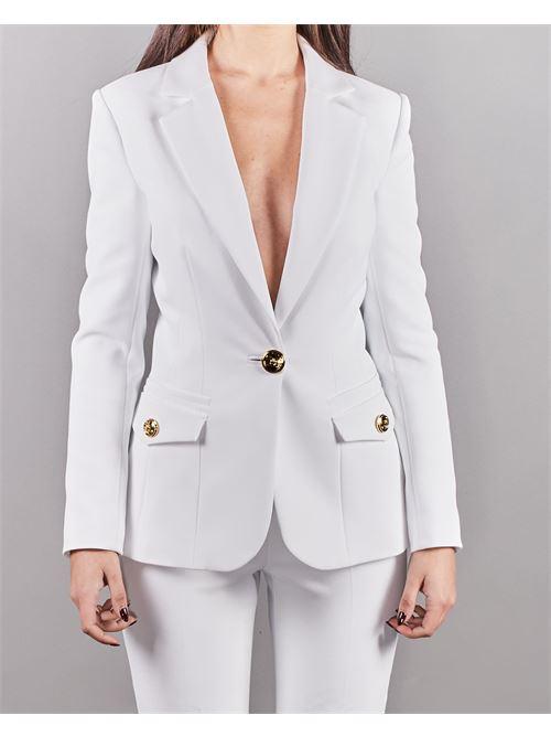 Giacca con scollo a V e bottone light gold Elisabetta Franchi ELISABETTA FRANCHI | Giacca | GI96611E2360