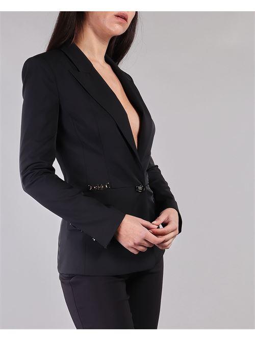 Giacca con scollo e accessorio morsetto oro light Elisabetta Franchi ELISABETTA FRANCHI | Giacca | GI96911E2110