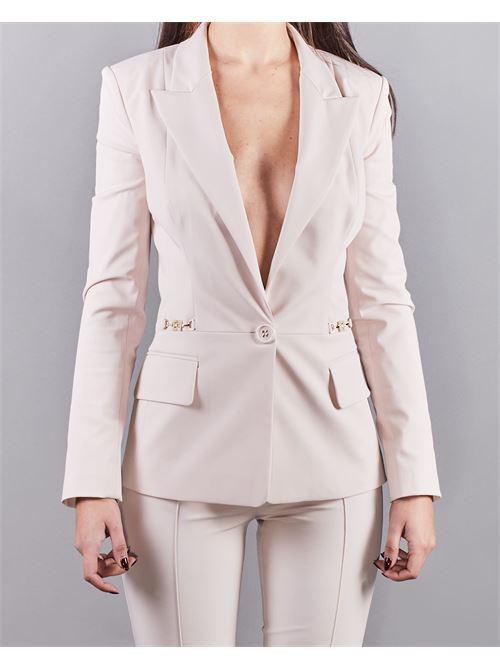 Giacca con scollo e accessorio morsetto light gold Elisabetta Franchi ELISABETTA FRANCHI | Giacca | GI96911E2686