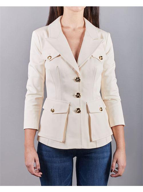 Giacca con revers e bottone light gold Elisabetta Franchi ELISABETTA FRANCHI | Giacca | GI97511E2193