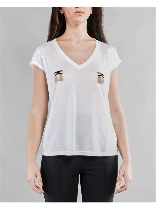 T-shirt manica corta con logo e micro catene Elisabetta Franchi ELISABETTA FRANCHI | T-shirt | MA19711E2270