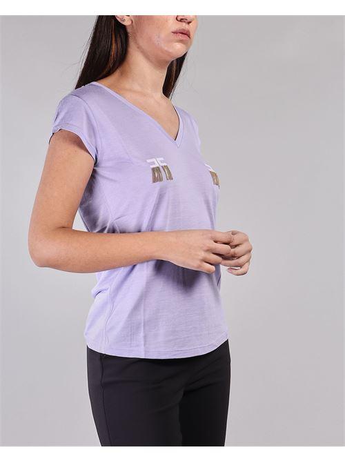 T-shirt manica corta con logo e micro catene Elisabetta Franchi ELISABETTA FRANCHI | T-shirt | MA19711E2Q38
