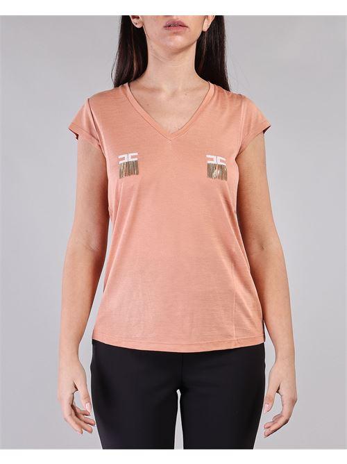 T-shirt manica corta con logo e micro catene Elisabetta Franchi ELISABETTA FRANCHI | T-shirt | MA19711E2W71