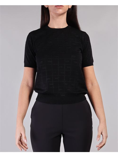 Maglia tricot manica corta con ricamo logo Elisabetta Franchi ELISABETTA FRANCHI | Maglia | MK03A11E2110