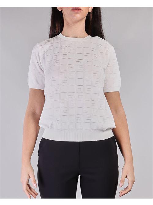 Maglia tricot manica corta con ricamo logo Elisabetta Franchi ELISABETTA FRANCHI | Maglia | MK03A11E2360
