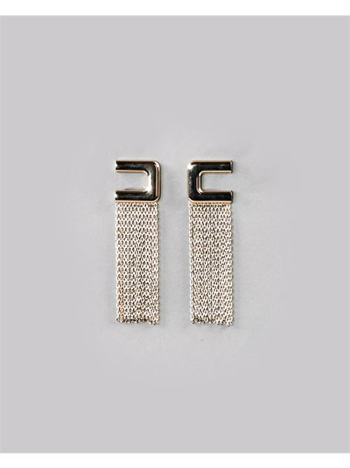 Orecchino logo con cascata di catene Elisabetta Franchi ELISABETTA FRANCHI | Orecchini | OR02A11E2604