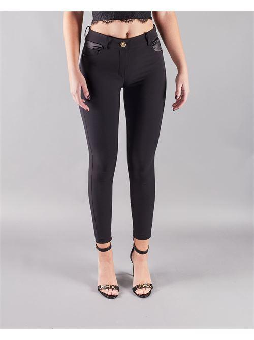 Pantalone skinny con inserti in ecopelle Elisabetta Franchi ELISABETTA FRANCHI | Pantalone | PA36211E2110