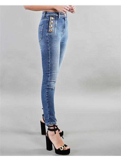 Jeans stretch con bottoni light gold Elisabetta Franchi ELISABETTA FRANCHI | Jeans | PJ02I11E2104