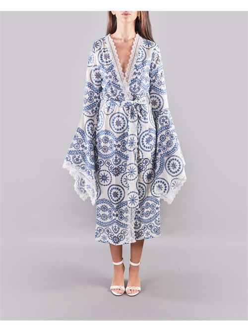 Abito kimono a fantasia Giulia N GIULIA N | Cardigan | GE2175BIANCO-BLU