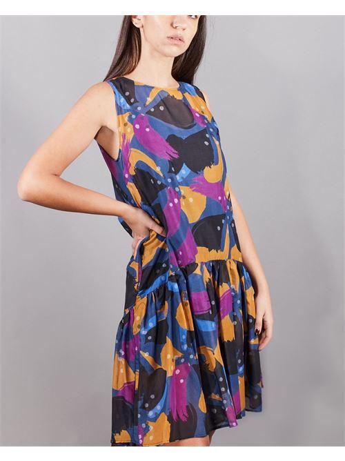 Abito senza maniche con balza e stampa fiore Manila Grace MANILA GRACE | Abito | A478CSMA011
