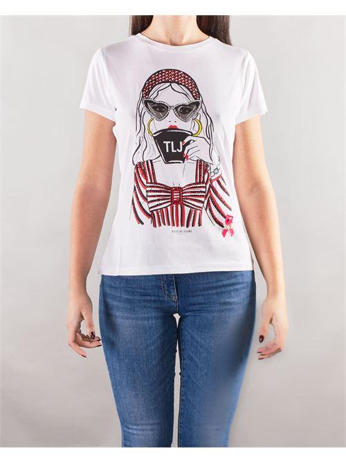 T-shirt con stampa e strass Nenette NENETTE | T-shirt | DARIS1