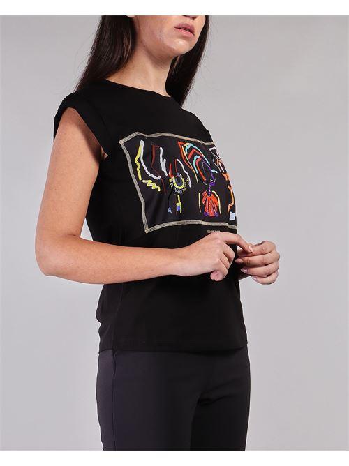T-shirt con stampa e strass Nenette NENETTE | T-shirt | DINGO700