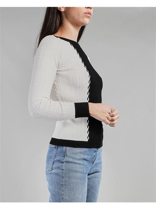 Maglia bicolor con trecce Penny Black PENNY BLACK | Maglia | FINESTRA1