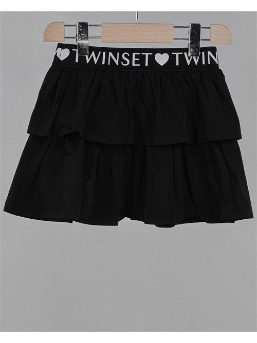 Gonna in taffetà con logo Twinset TWIN SET | Gonna | GJ2QE26