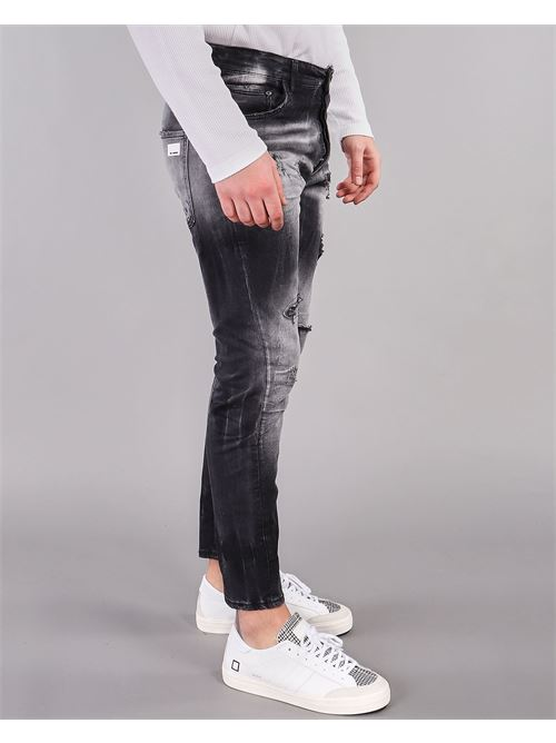 Jeans nero con rotture e scambiature Yes London YES LONDON | Jeans | XJ2954NERO