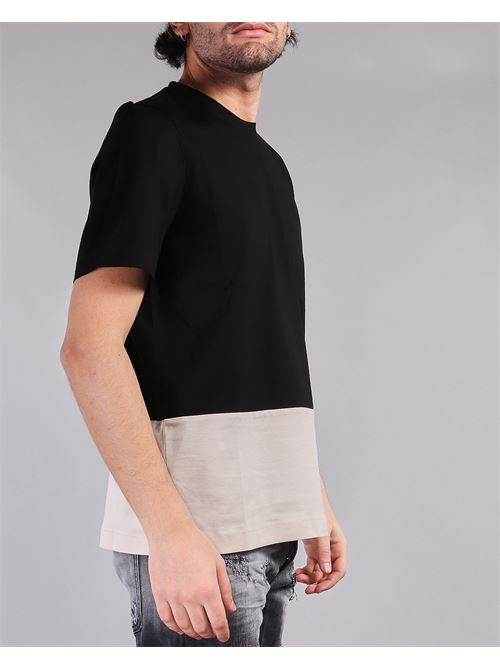 T-shirt bicolor Yes London YES LONDON | T-shirt | XM3855NERO-BEIGE