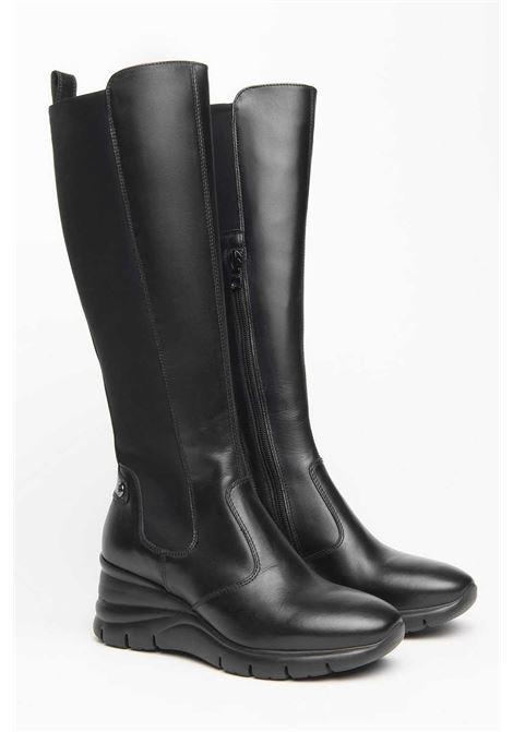 Stivali da donna in pelle zeppa 6cm Nero Giardini | Stivali | I116886D100