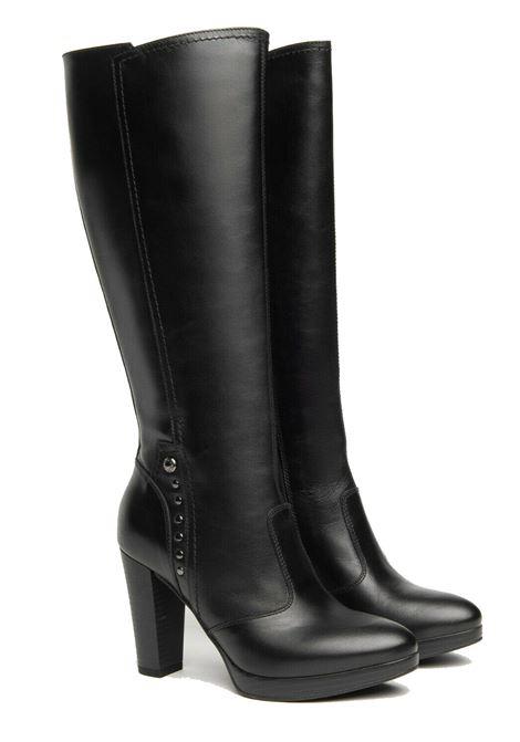 Stivali da donna in pelle con borchiette tacco 9.5cm Nero Giardini | Stivali | I117520D100