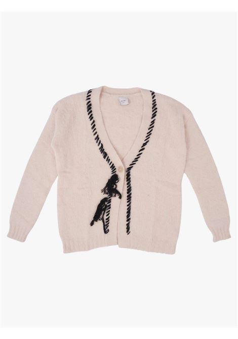 Women's angora cardigan with embroidery ALYSI      251415A1016AVENA