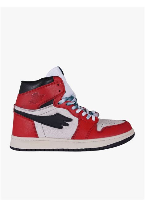 Tribute leather high top sneakers with red and black details  PRETTY FEAR | Sneakers | PFSDROP0121001R049