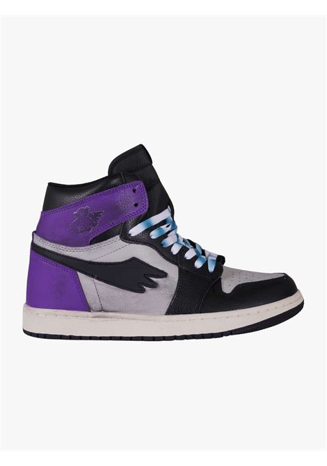 Tribute high leather sneakers with purple and black details  PRETTY FEAR   Sneakers   PFSDROP0121001R051