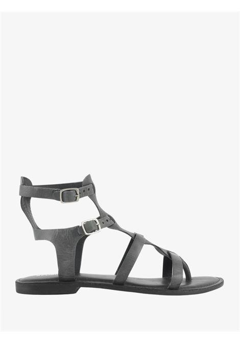GLADIATOR-STYLE LEATHER THONG SANDAL CB FUSION   Sandals   CBF.R221009BLACK