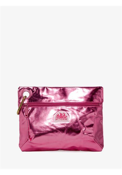 Clutch bag in laminated fabric with snap hook SUNDEK | Pochette | AW318ABPU7LA695