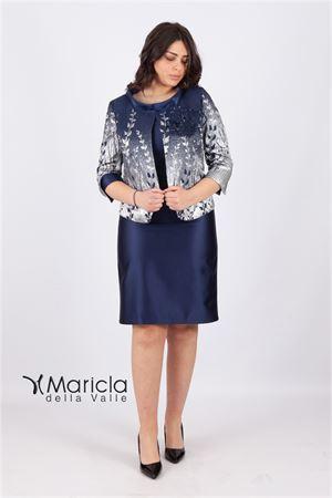 tubino c/giacca damascata Maricla elegance | 42 | ALE2216BLU