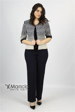 c/giacca fasce e strass+pant Maricla elegance | 42 | ALE4081BLU/BIANCO