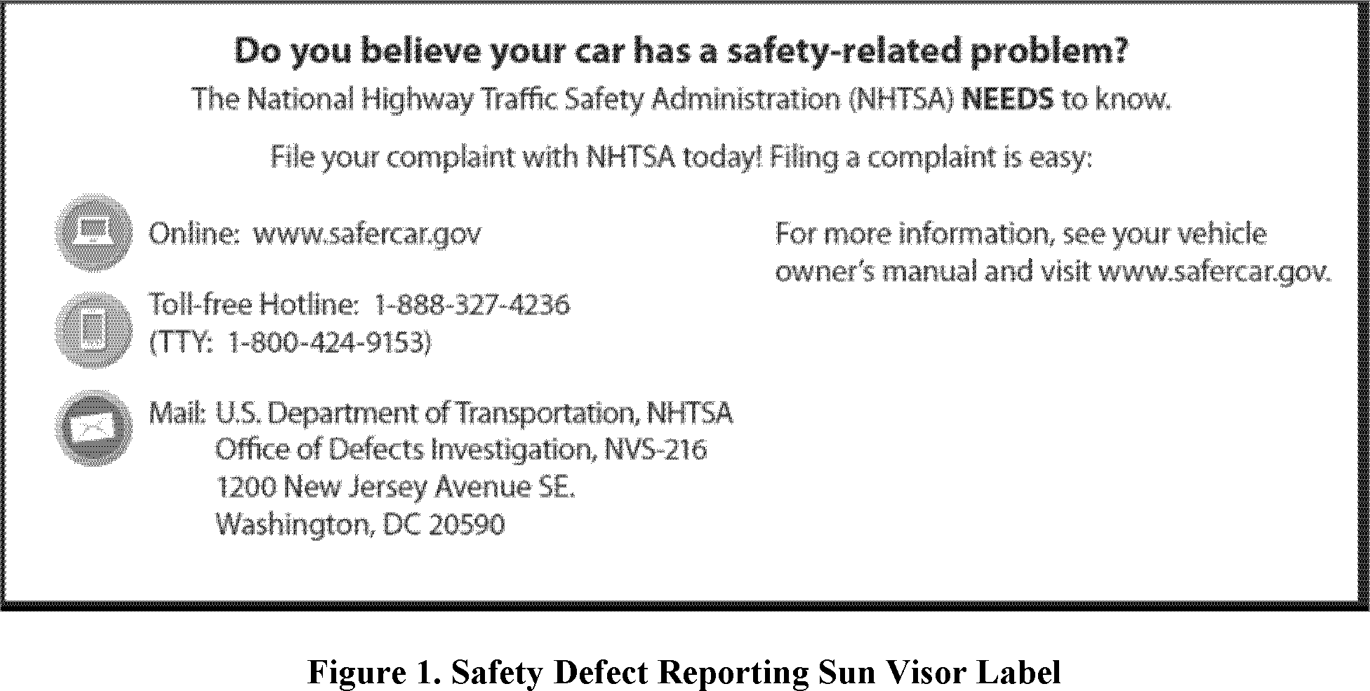 NHTSA seeks comments on the proposed design of the label, including the  current recommendation to keep the label in black and white without  additional ...