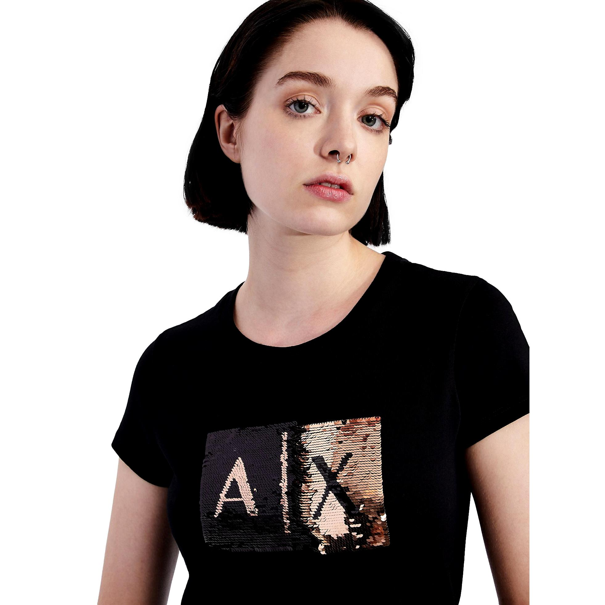 Slim fit T-shirt with applied sequins ARMANI EXCHANGE |  | 8NYTDL YJ73Z6231