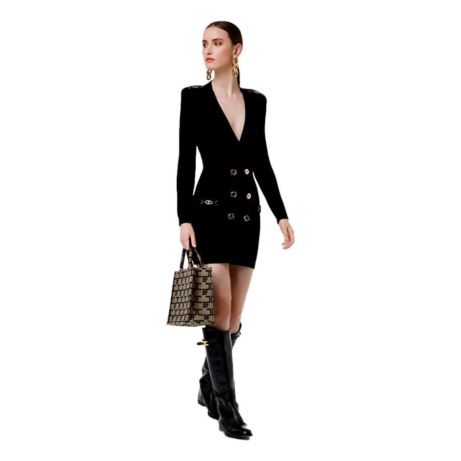 Abito Robe manteau in maglia con dettagli oro ELISABETTA FRANCHI |  | AM41S16E2110