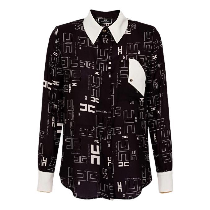 Camicia in georgette con con stampa logo bicolor ELISABETTA FRANCHI   Camicie   CA33216E2685
