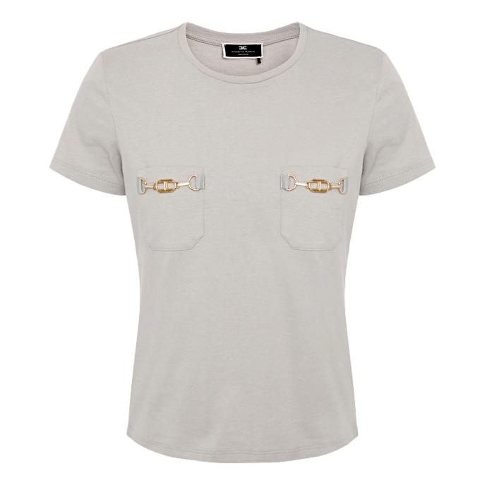 Crewneck T-shirt with gold clamps ELISABETTA FRANCHI |  | MA20016E2430