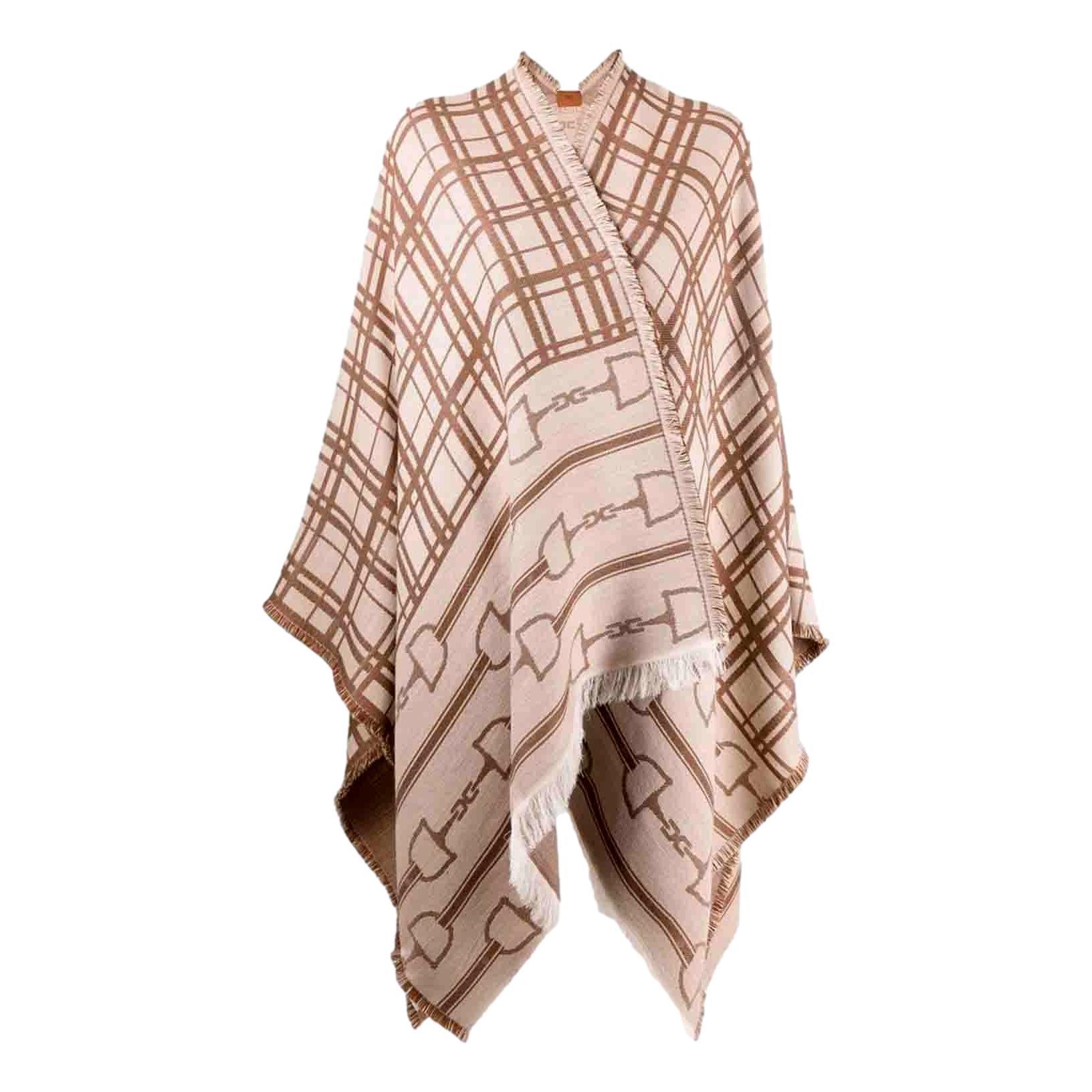 Mantella jaquard morsetto logo e tartan ELISABETTA FRANCHI | Mantelle | MT02F16E2Q99