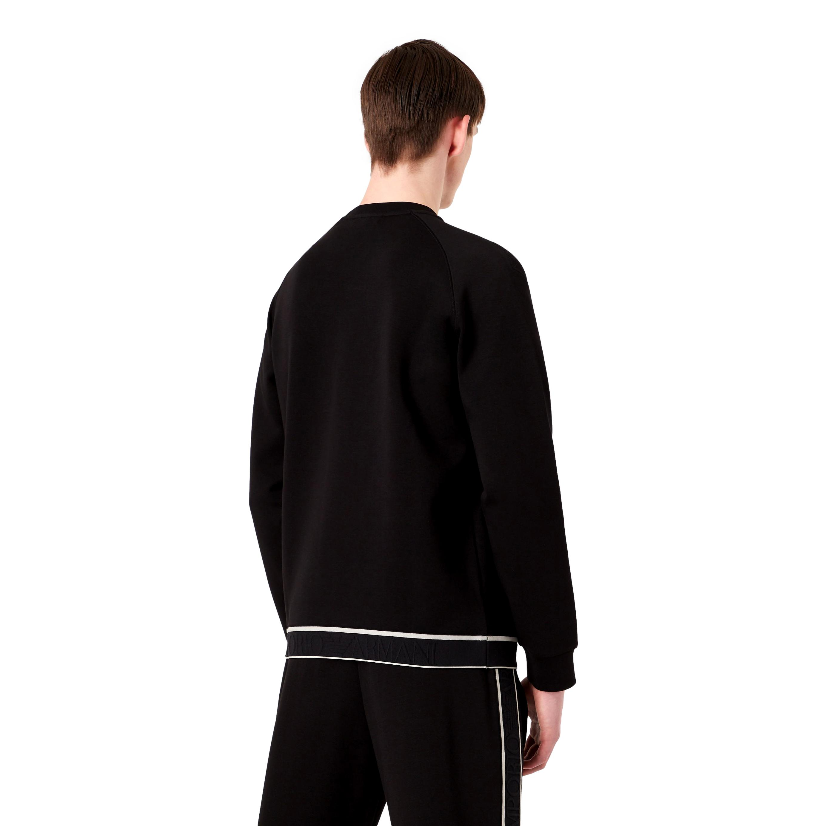 Felpa in double jersey con banda elastica logo jacquard EMPORIO ARMANI | Felpe | 6K1M74 1JHSZ0999