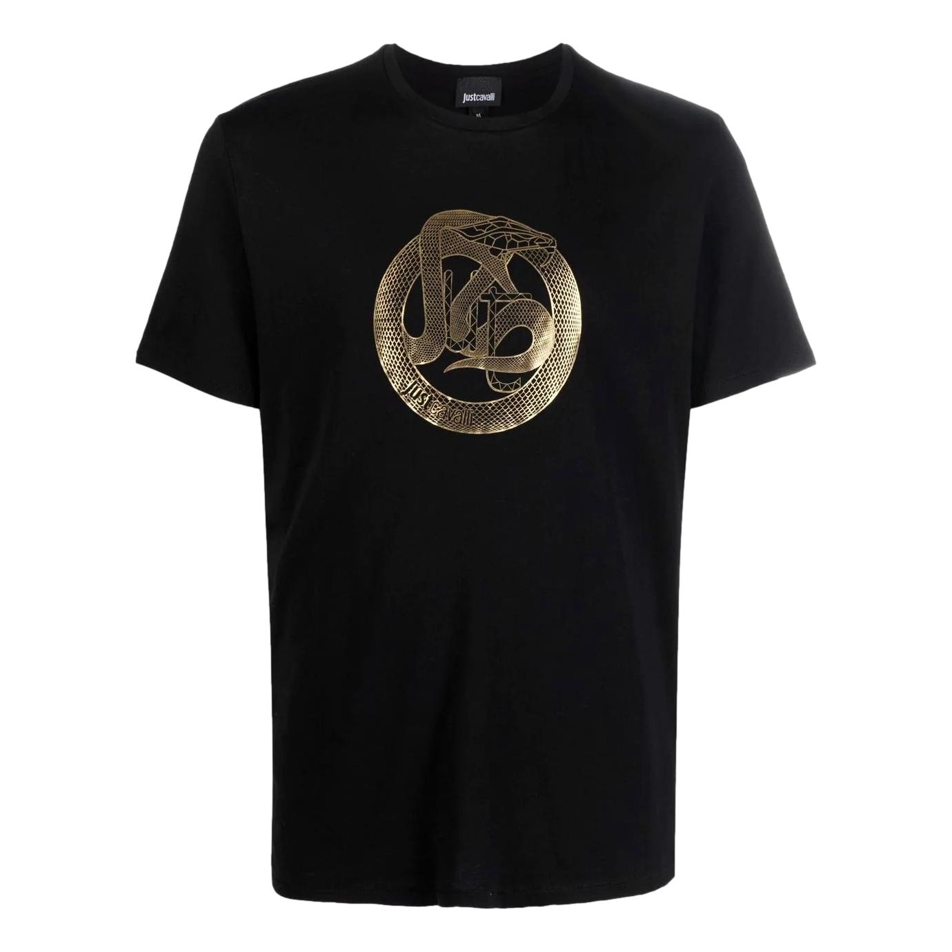 T-shirt con stampa logo oro serpente JUST CAVALLI | T-shirt | S03GC0638 N20663900