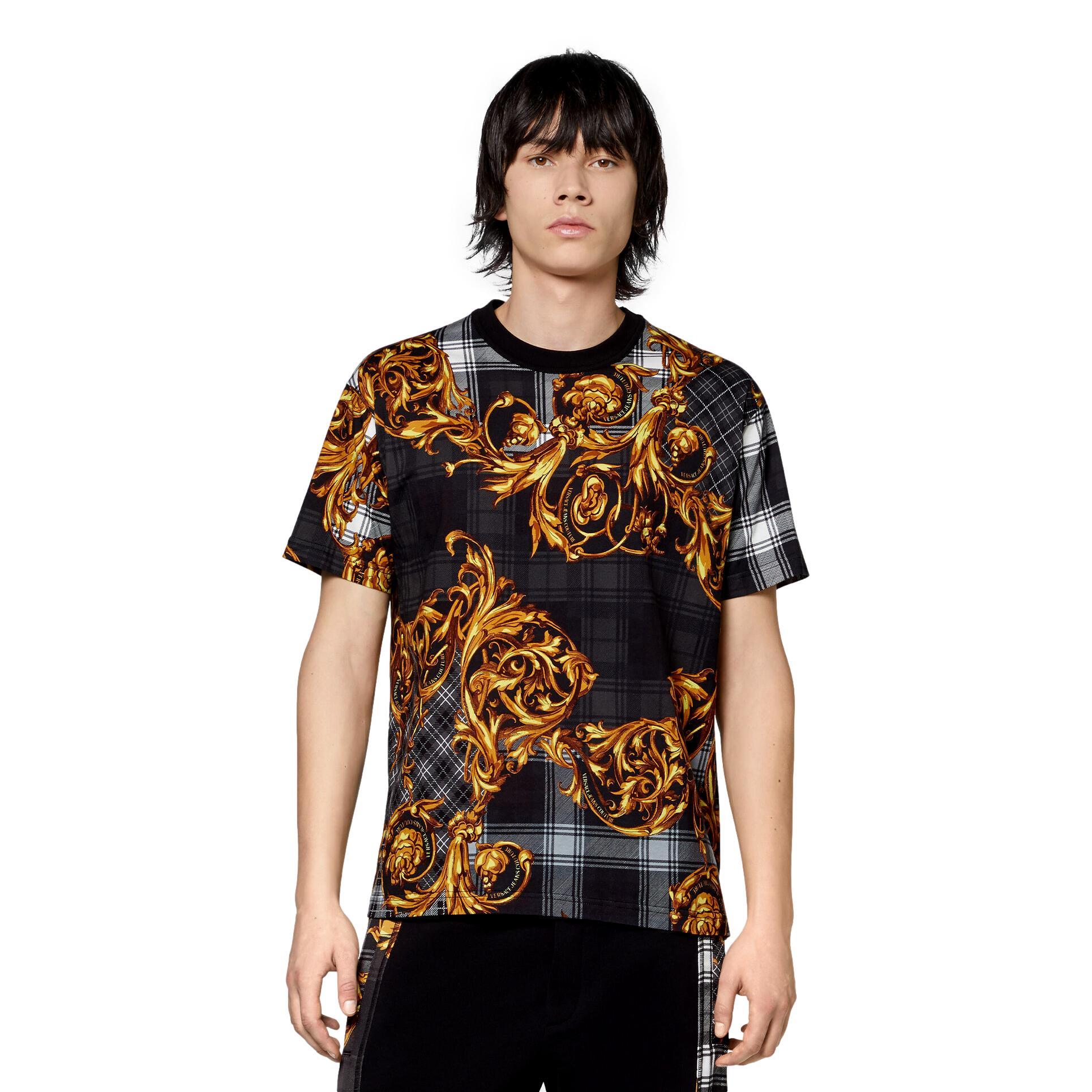 T-SHIRT CON STAMPA TARTAN BAROQUE VERSACE JEANS COUTURE | T-shirt | 71GAH6R6 JS025G80