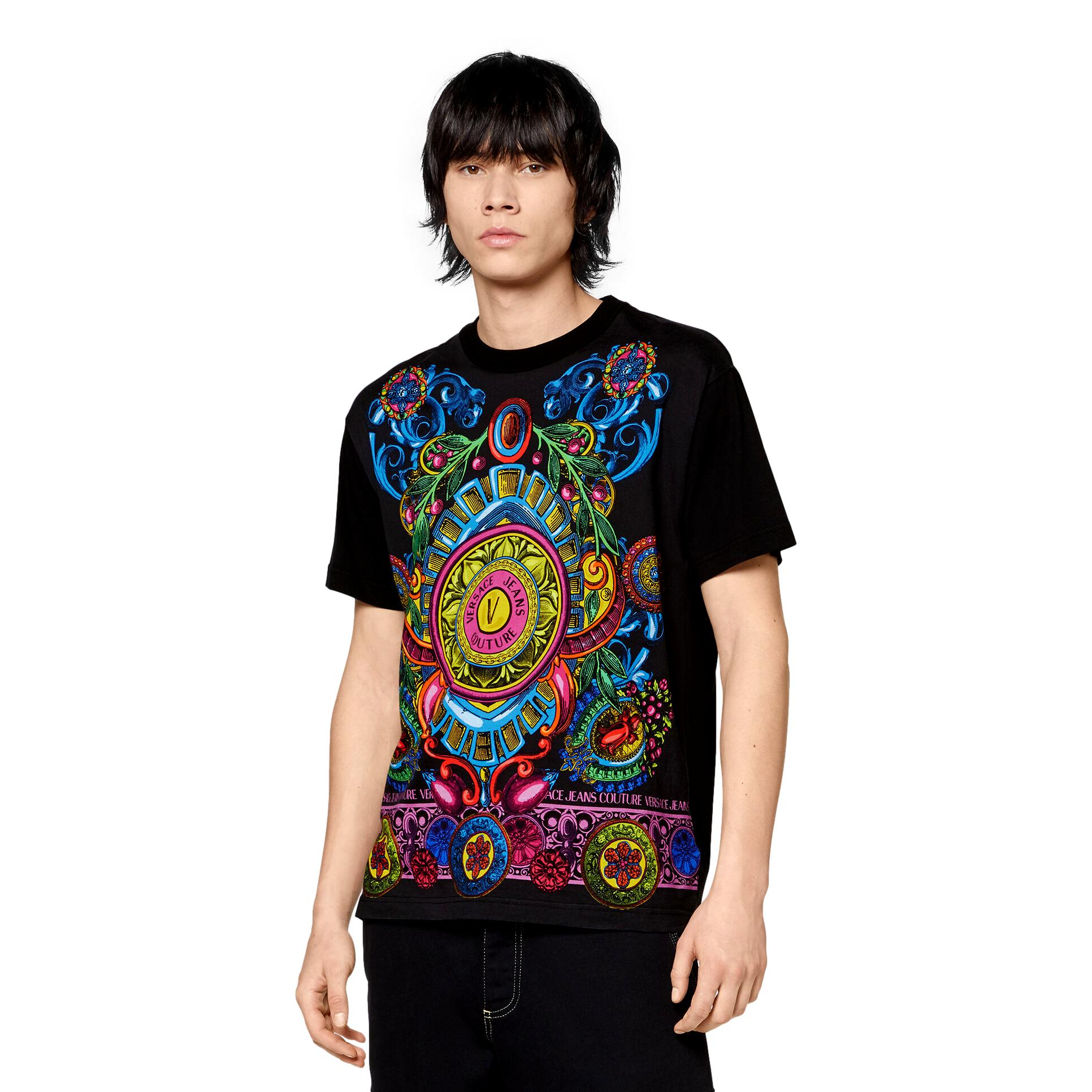 T-SHIRT WITH ROYAL PRINT VERSACE JEANS COUTURE      71GAH6R8 JS027899