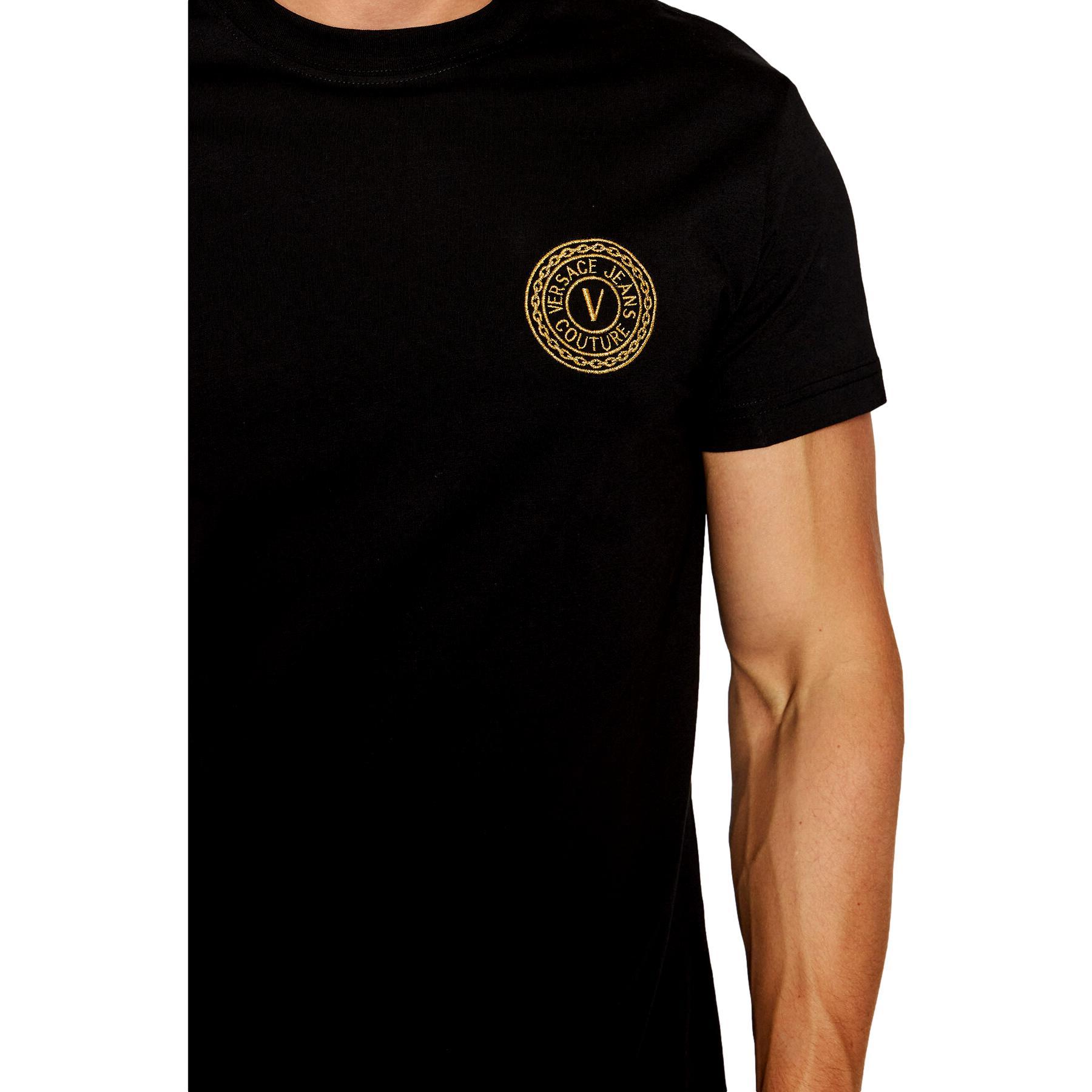 T-shirt con logo oro a rilievo VERSACE JEANS COUTURE   T-shirt   71GAHT10 CJ00TG89